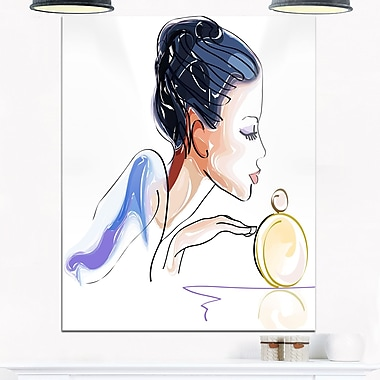 Woman with Bottle of Perfume Digital Metal Wall Art, 12x28, (MT6682-12-28)