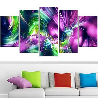 Art mural en métal, éclat vert et violet,60 x 32, 5 panneaux (MT3061-373)