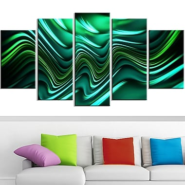 Emerald Energy Green Abstract Metal Wall Art, 60x32, 5 Panels, (MT3020-373)