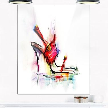 Art mural en métal, chaussure rouge à talon haut, art numérique, 12 x 28 (MT6666-12-28)