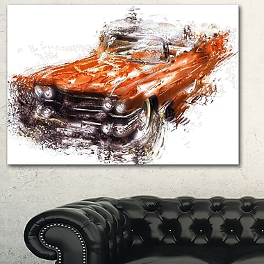 Burnt Orange Classic Car Metal Wall Art, 28x12, (MT2652-28-12)