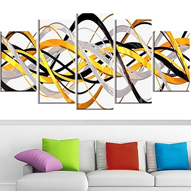 Gold and Silver Helix Metal Wall Art, 60x32, 5 Panels, (MT3043-373)