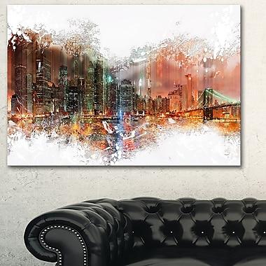 Grand art mural en métal, horizon urbain, nuit abstraite, 28 x 12 po, (MT3315-28-12)