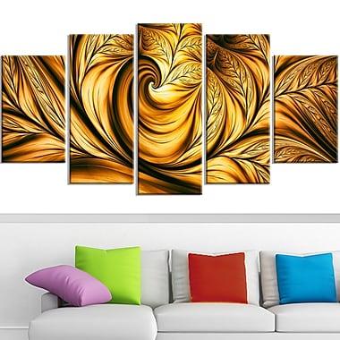 Art mural abstrait en métal, rêve doré, 60 x 32 po, 5 panneaux (MT3026-373)