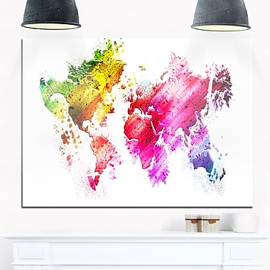Colours of the World Map Metal Wall Art, 28x12, (MT2707-28-12)