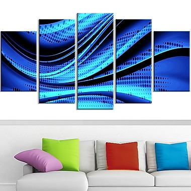 Blue and Black Transition Metal Wall Art, 60x32, 5 Panels, (MT3056-373)