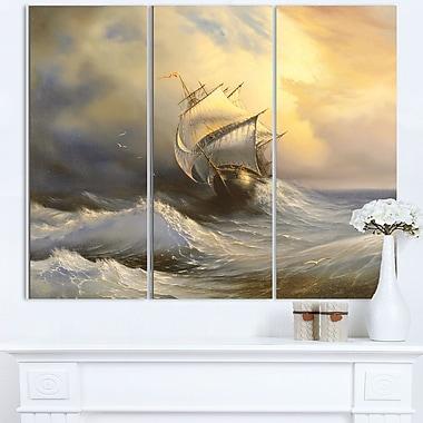 Vessel in Stormy Sea Seascape Metal Wall Art, 36x28, 3 Panels, (MT6324-36-28)
