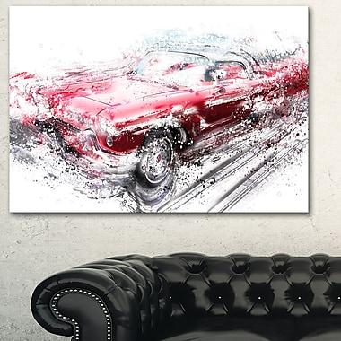 Art mural en métal, lowrider décapotable rouge, 28 x 12 po, (MT2642-28-12)
