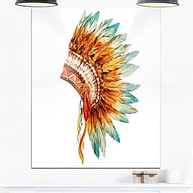 Feathers on Ethnic Skull Digital Metal Wall Art, 12x28, (MT6638-12-28)