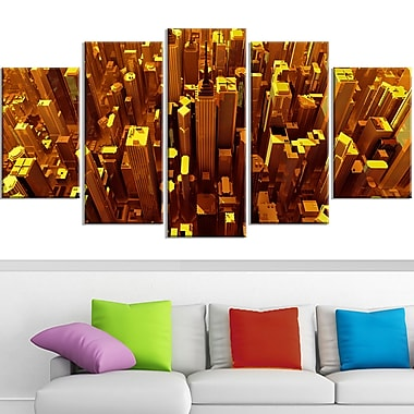 Golden City from the Sky Metal Wall Art, 60x32, 5 Panels, (MT3077-373)