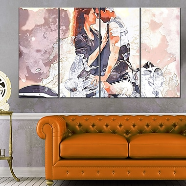 Romance on a ChopperSensual Metal Wall Art, 48x28, 4 Panels, (MT2917-271)
