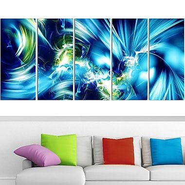 Green and Blue Shine Metal Wall Art, 60x28, 5 Panels, (MT3062-401)
