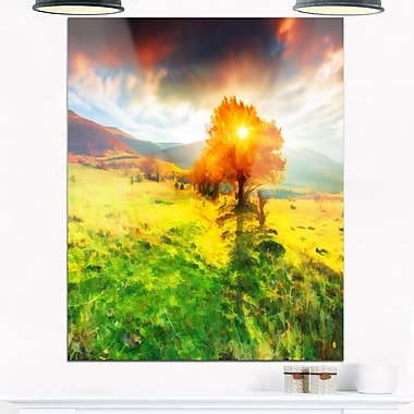 Lonely Autumn Tree Landscape Metal Wall Art, 12x28, (MT6519-12-28)