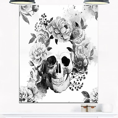 Peony WaterColour Skull Digital Metal Wall Art, 12x28, (MT6648-12-28)