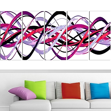 Pink and Purple Helix Metal Wall Art, 60x28, 5 Panels, (MT3044-401)