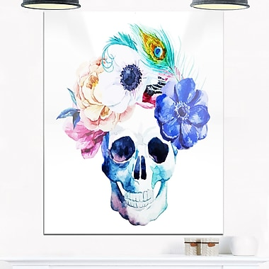 Anemones and Scull Floral Digital Metal Wall Art, 12x28, (MT6629-12-28)