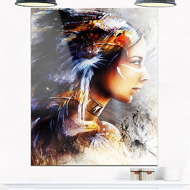 Woman with White Horse, Eagles Indian Metal Wall Art, 12x28, (MT6176-12-28)