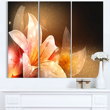 Shining Brown Fractal Flower Floral Metal Wall Art, 36x28, 3 Panels, (MT8124-36-28)