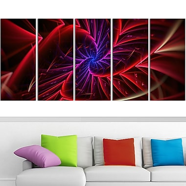 Purple & Red Entanglement Abstract Metal Wall Art, 60x28, 5 Panels, (MT3027-401)