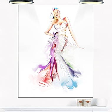Art mural en métal, belle fille à la mode, art contemporain, 12 x 28 (MT6658-12-28)