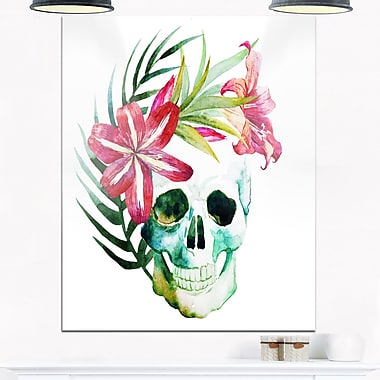 WaterColour Skull with Flowers Floral Metal Wall Art, 12x28, (MT6639-12-28)