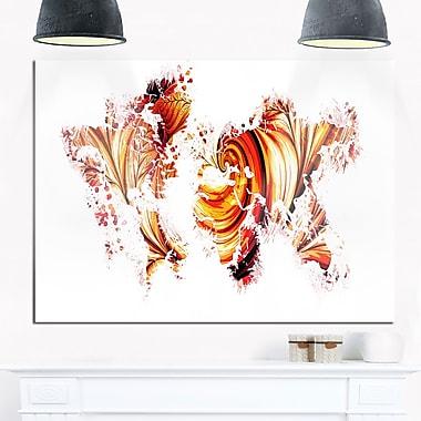 Art mural en métal, carte rouge et orange, 28 x 12 po (MT2736-28-12)