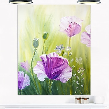 Purple Poppies in Morning, art mural floral en métal, 12 x 28 (MT6277-12-28)