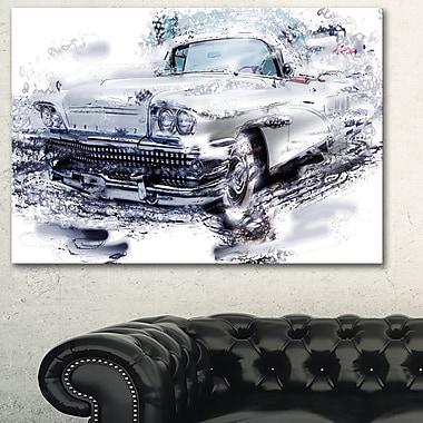 Art mural en métal, voiture musclée grise, 28 x 12 po (MT2609-28-12)