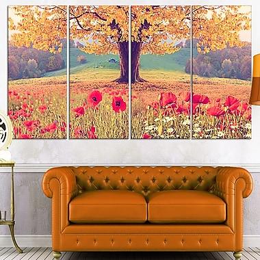 Art mural en métal, paysage avec coquelicots, photo, 48 x 28, 4 panneaux (MT7023-271)