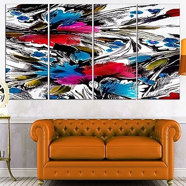Flowers with Fusion of Colours Abstract Metal Wall Art, 48x28, 4 Panels, (MT7485-271)