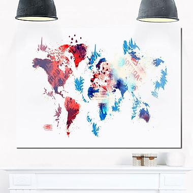 Red and Blue Map Metal Wall Art, 28x12, (MT2716-28-12)