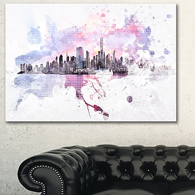 Sunset Splash Cityscape Large Metal Wall Art, 28x12, (MT3305-28-12)