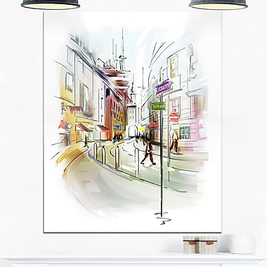 Colourful Illustration of City Cityscape Metal Wall Art, 12x28, (MT6683-12-28)