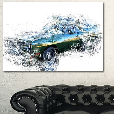 Blue and Green Muscle Car, art mural en métal, 28 x 12, (MT2633-28-12)