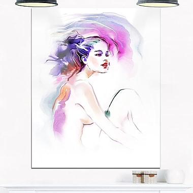 Purple Woman Portrait Contemporary Metal Wall Art, 12x28, (MT6712-12-28)