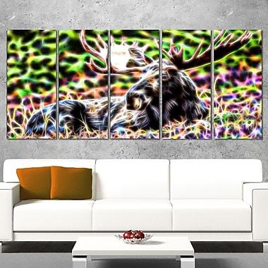 Art mural abstrait en métal, orignal, 60 x 28 po, 5 panneaux, (MT2421-401)