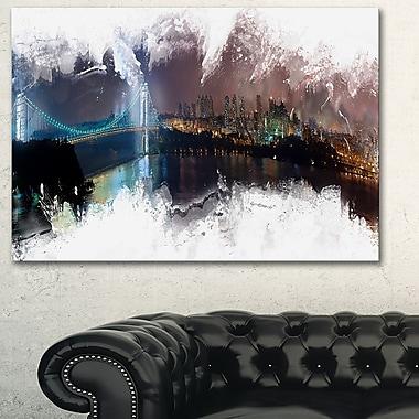 Grand art mural en métal, paysage urbain d'un pont vers la ville, 28 x 12 po, (MT3316-28-12)