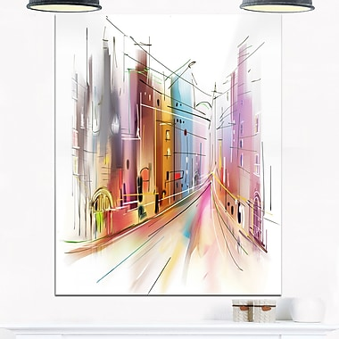 Road in City Illustration Art, Cityscape Metal Wall Art, 12x28, (MT6691-12-28)