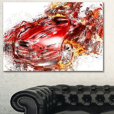 Flaming Red Sports Car Metal Wall Art, 28x12, (MT2601-28-12)