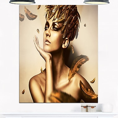 Sexy Woman in Gold Hat Sensual Metal Wall Art, 12x28, (MT6909-12-28)