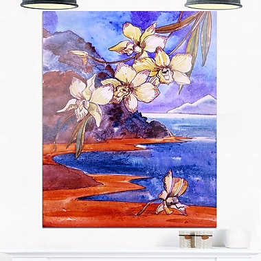 White Orchid with Sea Floral Metal Wall Art, 12x28, (MT6346-12-28)