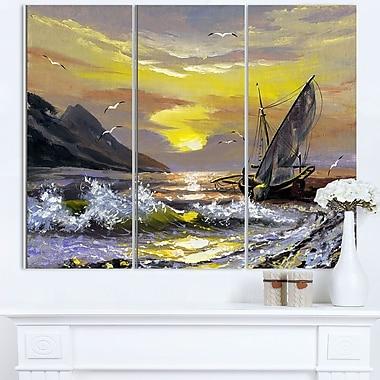 Art mural en métal, paysage marin, rencontre prochaine, 36 x 28 po, 3 panneaux, (MT6325-36-28)