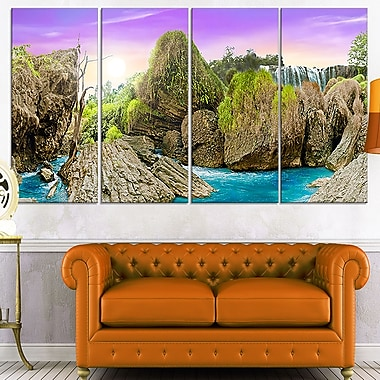 Wild Forest and Waterfall Vietnam Metal Wall Art, 48x28, 4 Panels, (MT7049-271)