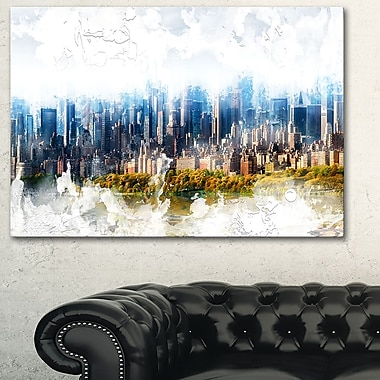 Abstract Blue Cityscape Large Metal Wall Art, 28x12, (MT3312-28-12)