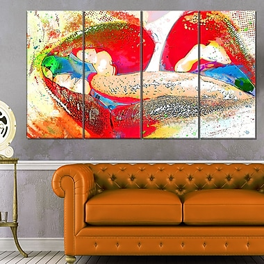 Colourful French Kiss Sensual Metal Wall Art, 48x28, 4 Panels, (MT2934-271)