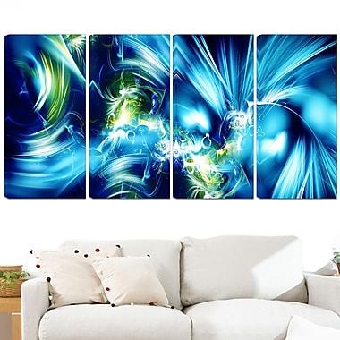Art mural en métal, éclat vert et bleu, 48 x 28, 4 panneaux (MT3062-271)