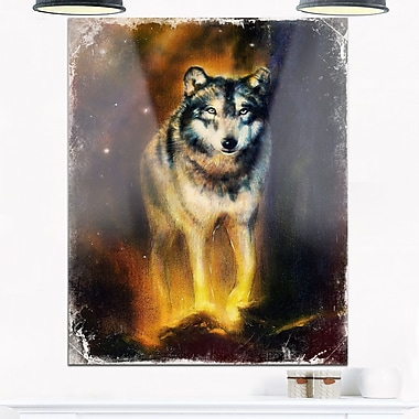 Calm Wolf Illustration Animal Metal Wall Art, 12x28, (MT6543-12-28)