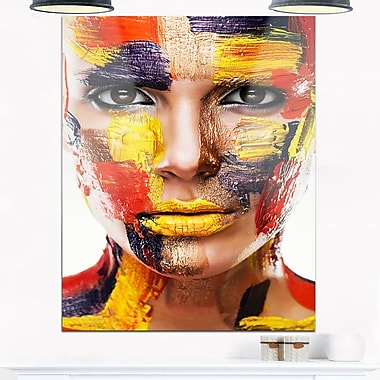 Woman with Colourful Face Contemporary Metal Wall Art, 12x28, (MT6767-12-28)