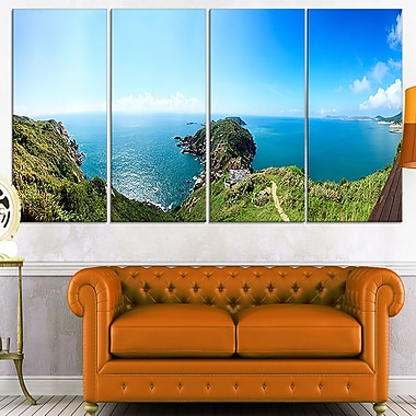 Seascape View from Hillside Photography Metal Wall Art, 48x28, 4 Panels, (MT7054-271)