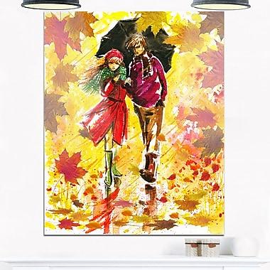 Art mural en métal, paysage, promenade d'automne d'un couple, 12 x 28 po, (MT6201-12-28)